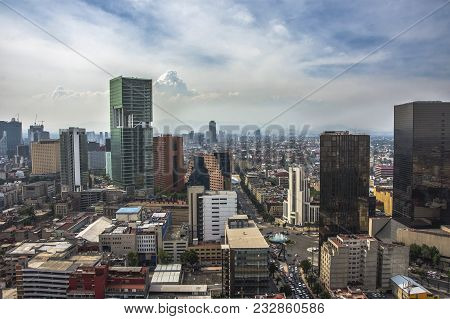 Skyline In Mexico City, Aerial View Of The City. Business City Mexico