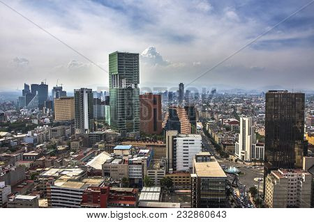A View Of Downtown Mexico City, Mexico. Business View Of Mexico City