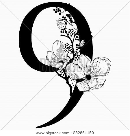 Vector Hand Drawn Floral Number Nine Monogram Or Logo. Numeric 8 With Flowers And Branches, Cherry B