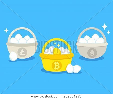 Eggs In Different Baskets With Main Cryptocurrency Symbols: Bitcoin, Litecoin, Ethereum. Crypto Inve