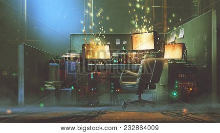 Futuristic Workspace With Sparkling Particles Floating Out Of Glowing Screen, Digital Art Style, Ill