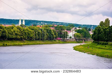 Beautiful Cityscape Of Uzhgorod Town In Summer. Embankments With Linden And Chestnut Alley Lead To A