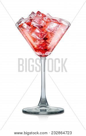 Cosmopolitan Cocktail In Martini Glass With Strawberry On White Background With Clipping Path