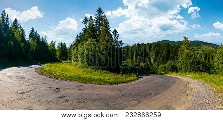 Turnaround On Serpentine Road In Forest. Lovely Transportation Background. Beautiful Mountainous Lan