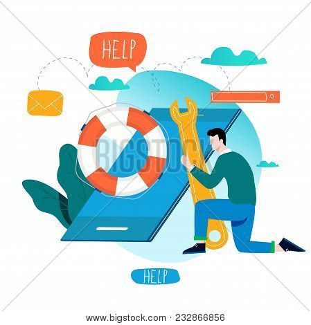 Customer Service, Customer Assistance, Call Center Flat Vector Illustration. Technical Support, Onli