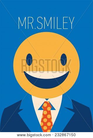 Businessman With A Smiley Face Instead Of His Head. Vector Flat Illustration Of A Business Smiley Wi