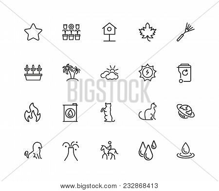 Environment Icons. Set Of Twenty Line Icons. Star, Palm, Volcano. Nature Concept. Vector Illustratio