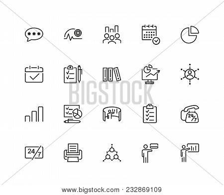 Management Icons. Set Of Twenty Line Icons. Deadline, Recruitment, Schedule. Strategic Planning Conc