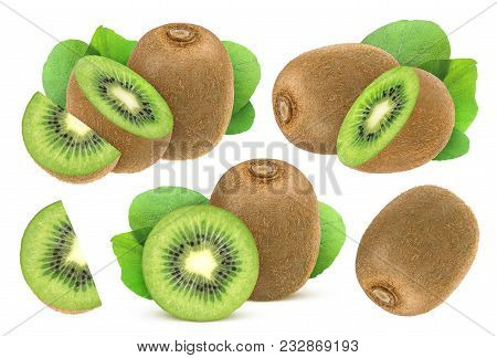 Isolated Kiwi Fruit. Collection Of Whole And Cut Kiwi Isolated On A White Background With Clipping P