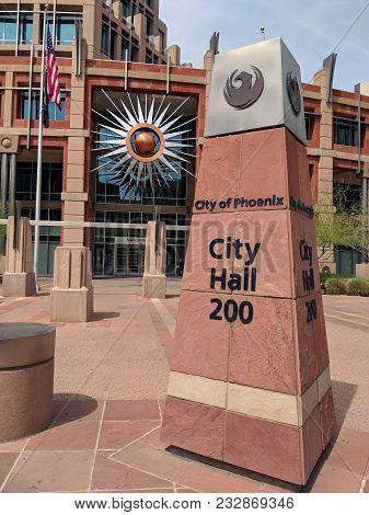 Phoenix, Az, Usa - March 21, 2018: Arizona Sandstone Masonry Sign Of Phoenix Downtown Next To City H