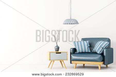 Interior Design Of Living Room With Wooden Side Table, Lamp And Blue Leather Armchair Over White 3d