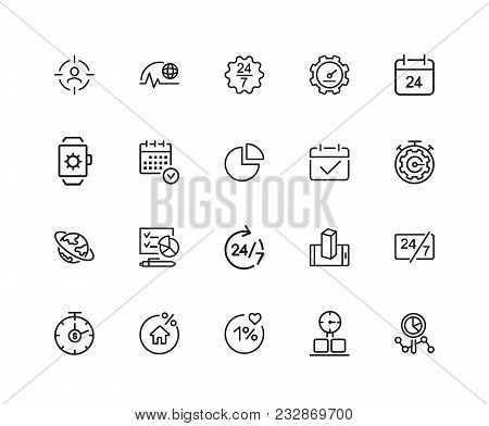 Timing Icons. Set Of Twenty Line Icons. All The Day, Deadline, Schedule. Time Management Concept. Ve
