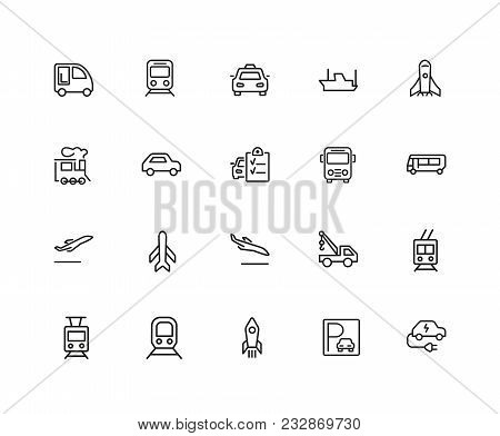 Transport Icons. Set Of Twenty Line Icons. Train, Airplane, Taxi. Vehicle Icon Set. Vector Illustrat