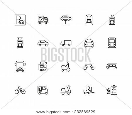 Urban Transport Icons. Set Of Twenty Line Icons. Tram, Bicycle, Parking. Vehicle Concept. Vector Ill