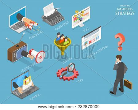 Choosing Marking Strategy Flat Isometric Vector. Business Man Is Thinking What Strategy Is The Best