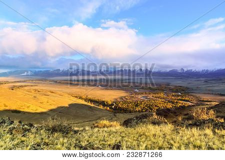The Landscape Of Altai Mountains With North-chuya Ridge In Background, In Autumn, Siberia, Altai Mou