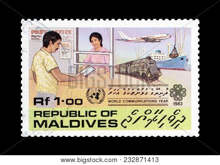 Maldives - Circa 1983 : Cancelled Postage Stamp Printed By Maldives, That Shows Different Types Of T