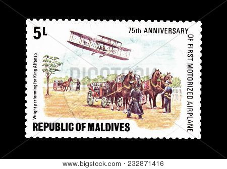 Maldives - Circa 1978 : Cancelled Postage Stamp Printed By Maldives, That Shows Wilbur Wright Showin