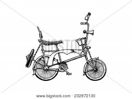 Vector Ink Hand Drawn Illustration Of Lowrider Bicycle In Vintage Engraved Style.  Wheelie Bike With