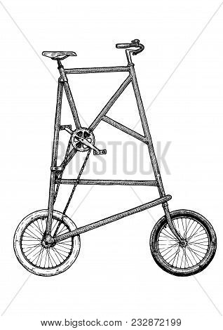 Vector Ink Hand Drawn Illustration Of Tall Bike In Vintage Engraved Style.