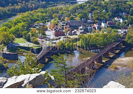 Aerial View On Harpers Ferry Historic Town And Railroad In Autumn. Harpers Ferry National Historical