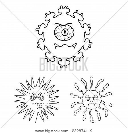 Types Of Funny Microbes Outline Icons In Set Collection For Design. Microbes Pathogenic Vector Symbo