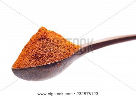 Shichimi Pepper In Wooden Spoon On White Background, Blend Of Seven Spices