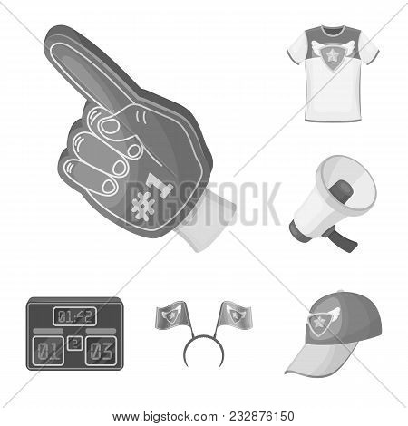 Fan And Attributes Monochrome Icons In Set Collection For Design. Sports Fan Vector Symbol Stock  Il
