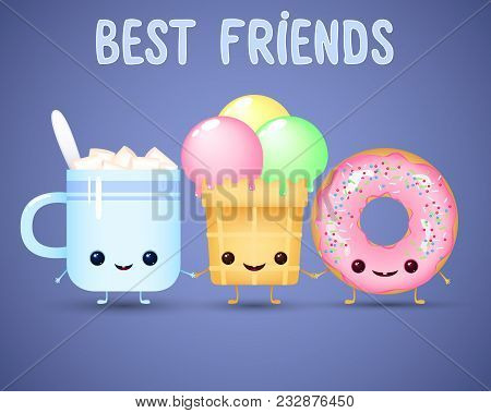 Funny Cartoon Food. Coffee Cup With Marshmallow, Ice Cream And Donut On Blue Background