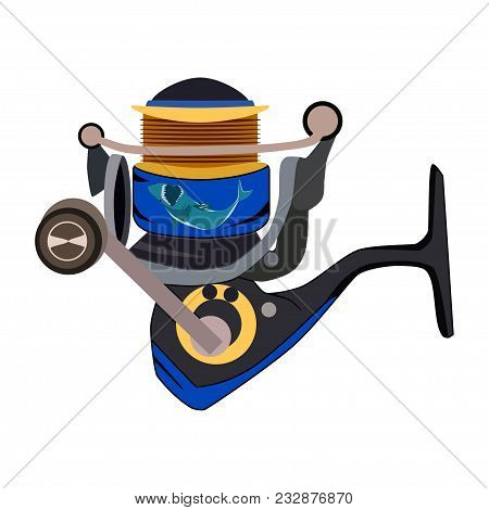 Fishing Reel Or Spinning Reel Icon. Vector Flat Illustration Isolated On White Background. Fishing E
