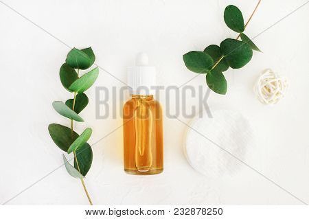 Natural Handmade Cosmetics With Honey And Eucalyptus Aroma, Bottle With Diy Cleansing Beauty Care Pr