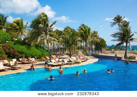 Mexico, Cancun - February 15, 2018: Grand Pyramid Entertaining Complex. Grand Oasis Hotel Swimming P