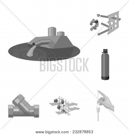 Water Filtration System Monochrome Icons In Set Collection For Design. Cleaning Equipment Vector Sym