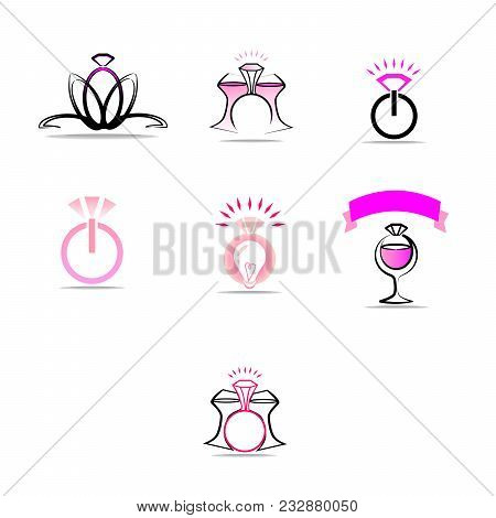 A Set Of Logos On The Theme Of A Wedding Party, A Bachelorette Party. Preparation For The Engagement
