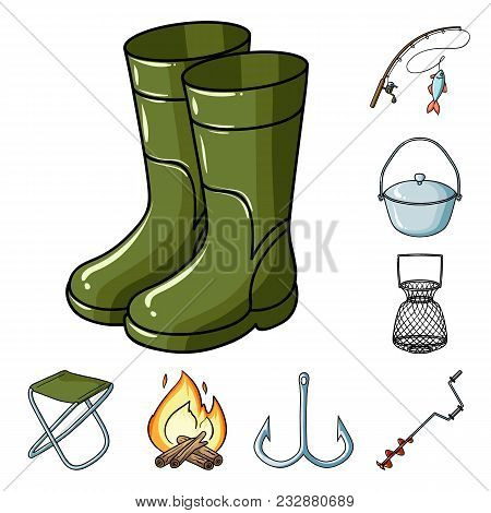 Fishing And Rest Cartoon Icons In Set Collection For Design. Tackle For Fishing Vector Symbol Stock