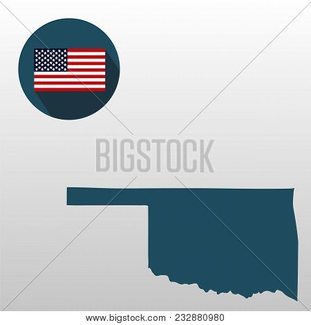 map of the u s state of oklahoma on a white background american flag