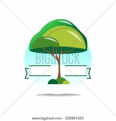 Logo Tree. Fashionable Casual Image Of A Beautiful Plant With A Large Crown.
