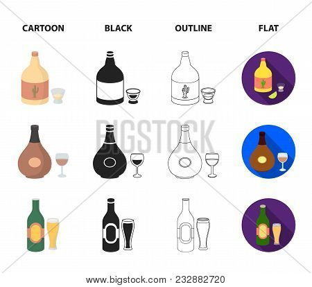 Tequila, Cognac, Beer, Vodka.alcohol Set Collection Icons In Cartoon, Black, Outline, Flat Style Vec