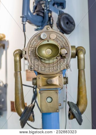 Moscow, Russia - March 20, 2018: Old Obsolete Navy Telephone By Alfred Graham Exhibits In The Museum