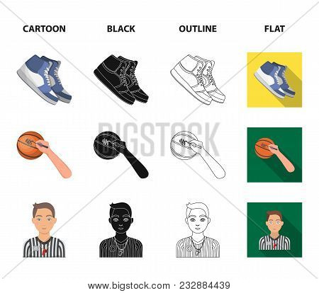 Basketball And Attributes Cartoon, Black, Outline, Flat Icons In Set Collection For Design.basketbal