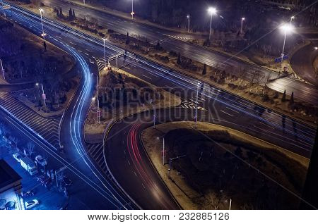 Looking Down On A Motorway Junction By Night In Shenyang, China