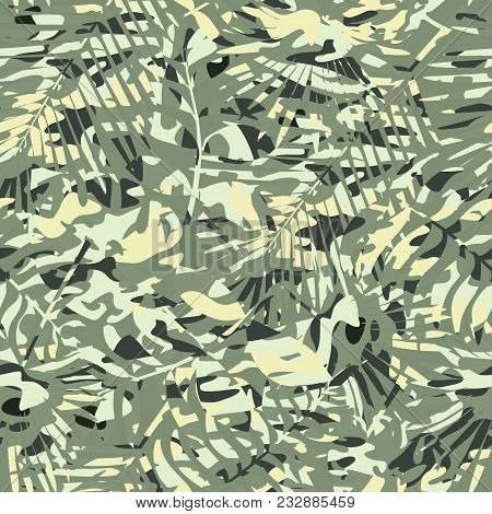 Vector Pattern In Green-yellow Tones Of Forest Foliage And Tropical Texture. Design Of Camouflage. P