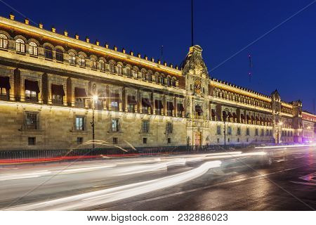National Palace In Mexico City At Night. Mexico City, Mexico.