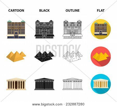 Sights Of Different Countries Cartoon, Black, Outline, Flat Icons In Set Collection For Design. Famo
