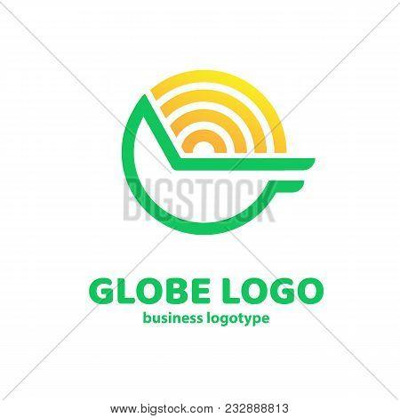 Logo Design Earth Vector Template Flat Simple Sign