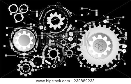 Abstract Futuristic Background. Vector Illustration Gear Wheel, Hexagons And Circuit Board, Hi-tech