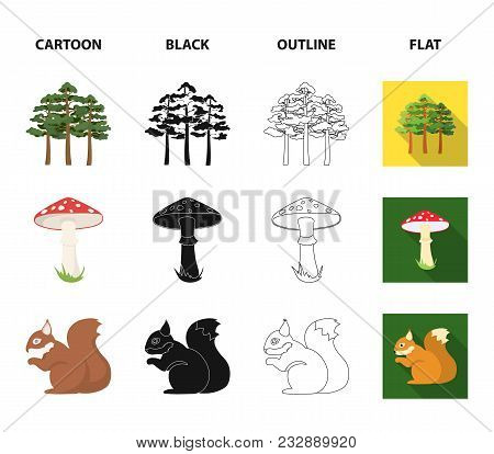 Pine, Poisonous Mushroom, Tree, Squirrel, Saw.forest Set Collection Icons In Cartoon, Black, Outline
