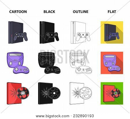 Game Console, Joystick And Disc Cartoon, Black, Outline, Flat Icons In Set Collection For Design.gam