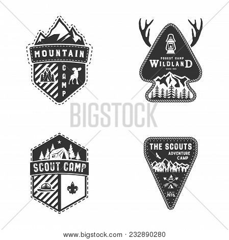 Travel Badges, Outdoor Activity Logo Collection. Scout Camps Emblems. Vintage Hand Drawn Travel Badg