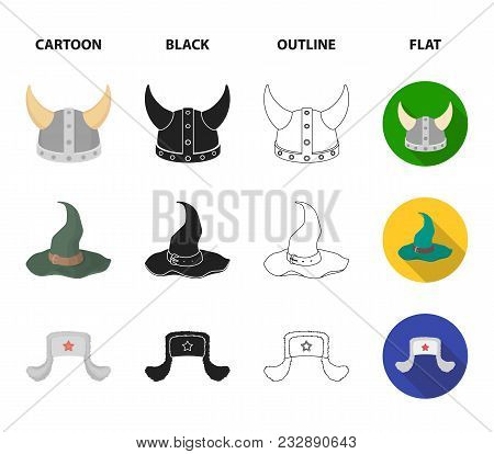 Sombrero, Hat With Ear-flaps, Helmet Of The Viking.hats Set Collection Icons In Cartoon, Black, Outl